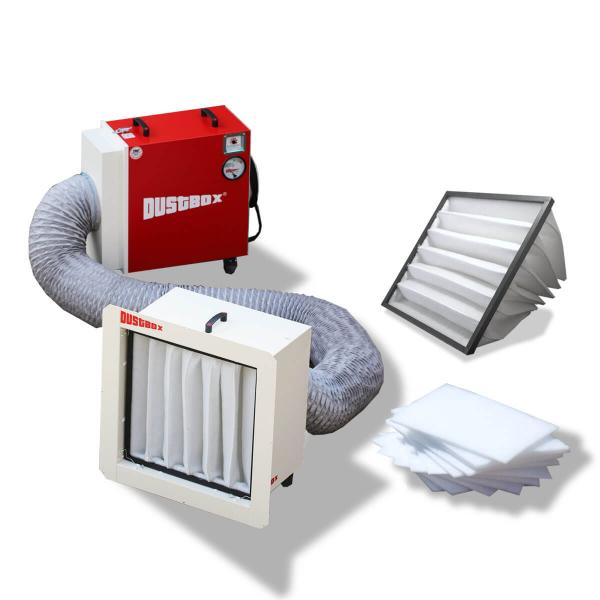 DustBox 2000 VSC Hochleistungs-Luftreiniger H14 als Taschenfilter-Paket